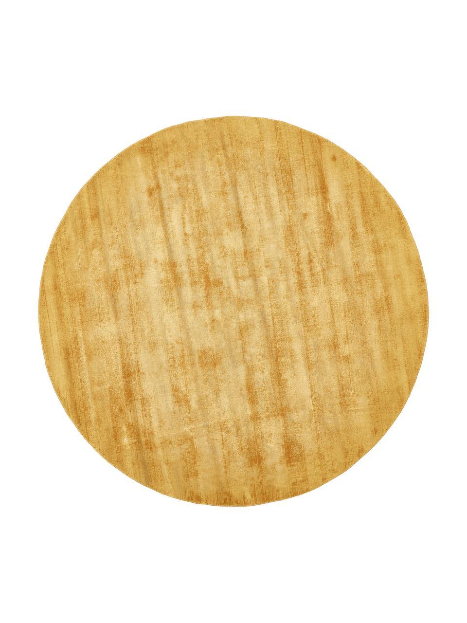 Tappeto rotondo in viscosa color giallo senape tessuto a mano Jane, Retro: 100% cotone, Giallo senape, Ø 150 cm (taglia M)