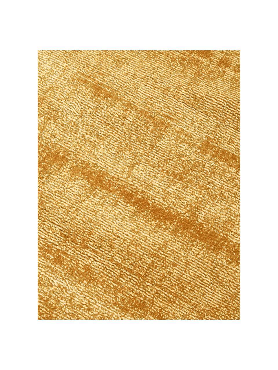Okrągły ręcznie tkany dywan z wiskozy Jane, Musztardowy, Ø 150 cm (Rozmiar M)