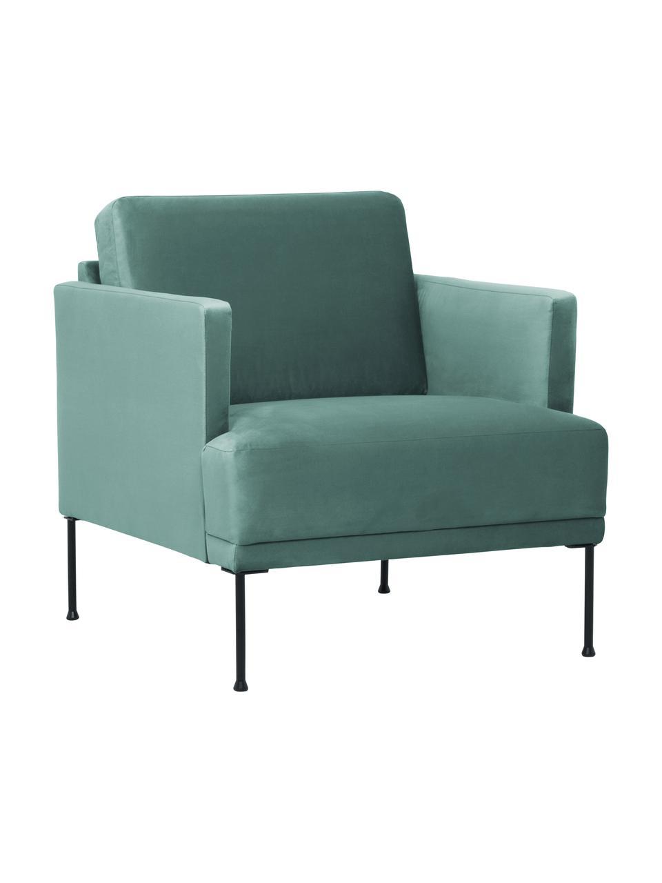 Samt-Sessel Fluente in Hellgrün mit Metall-Füßen, Bezug: Samt (Hochwertiger Polyes, Gestell: Massives Kiefernholz, Füße: Metall, pulverbeschichtet, Samt Hellgrün, B 74 x T 85 cm