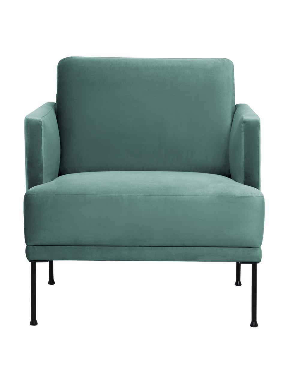 Fauteuil moderne velours vert clair Fluente, Velours vert clair