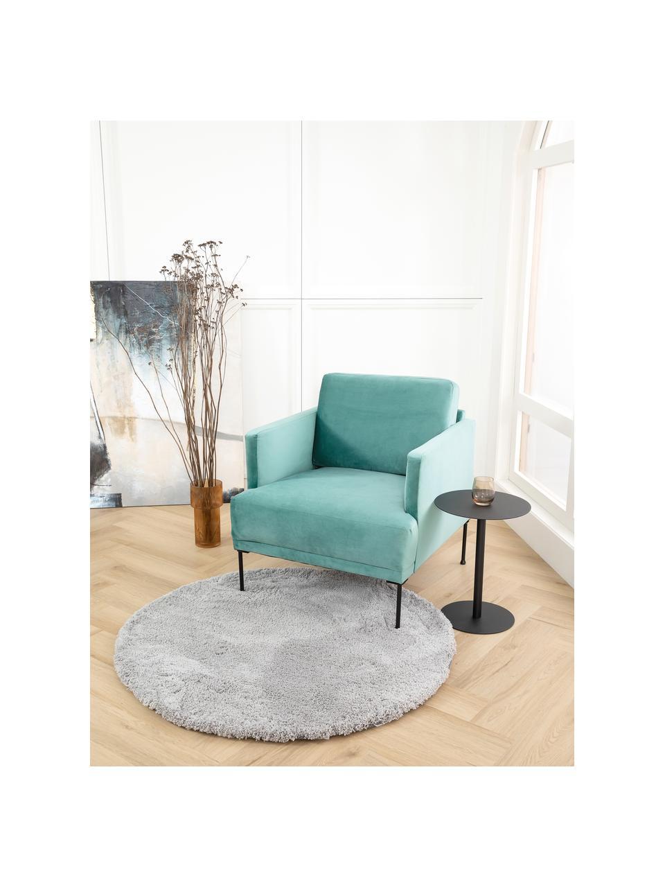 Fluwelen fauteuil Fluente in lichtgroen met metalen poten, Bekleding: fluweel (hoogwaardig poly, Frame: massief grenenhout, Poten: gepoedercoat metaal, Fluweel lichtgroen, B 74 x D 85 cm