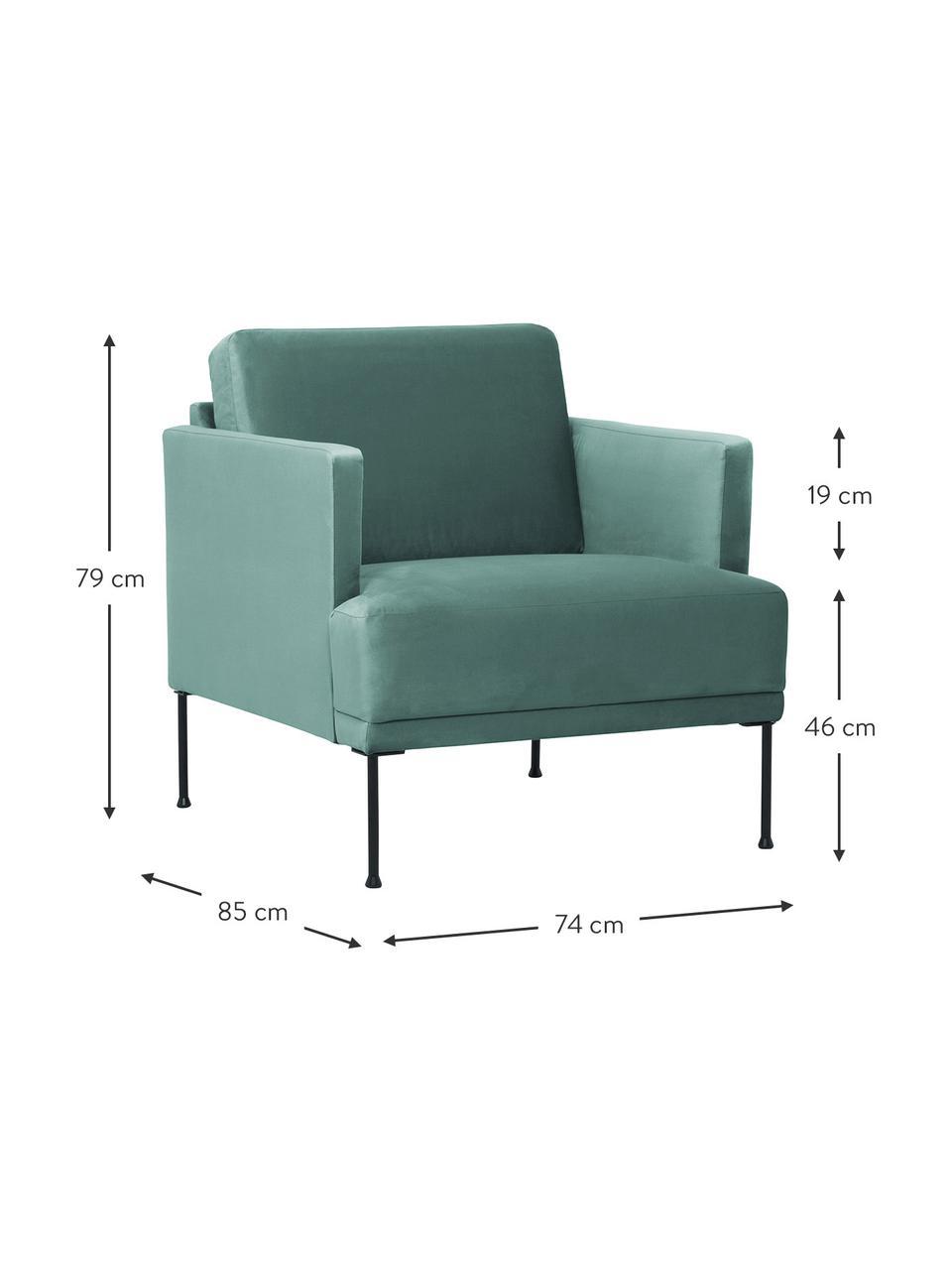 Fotel z aksamitu z metalowymi nogami Fluente, Tapicerka: aksamit (wysokiej jakości, Nogi: metal malowany proszkowo, Aksamitny jasny zielony, S 74 x G 85 cm