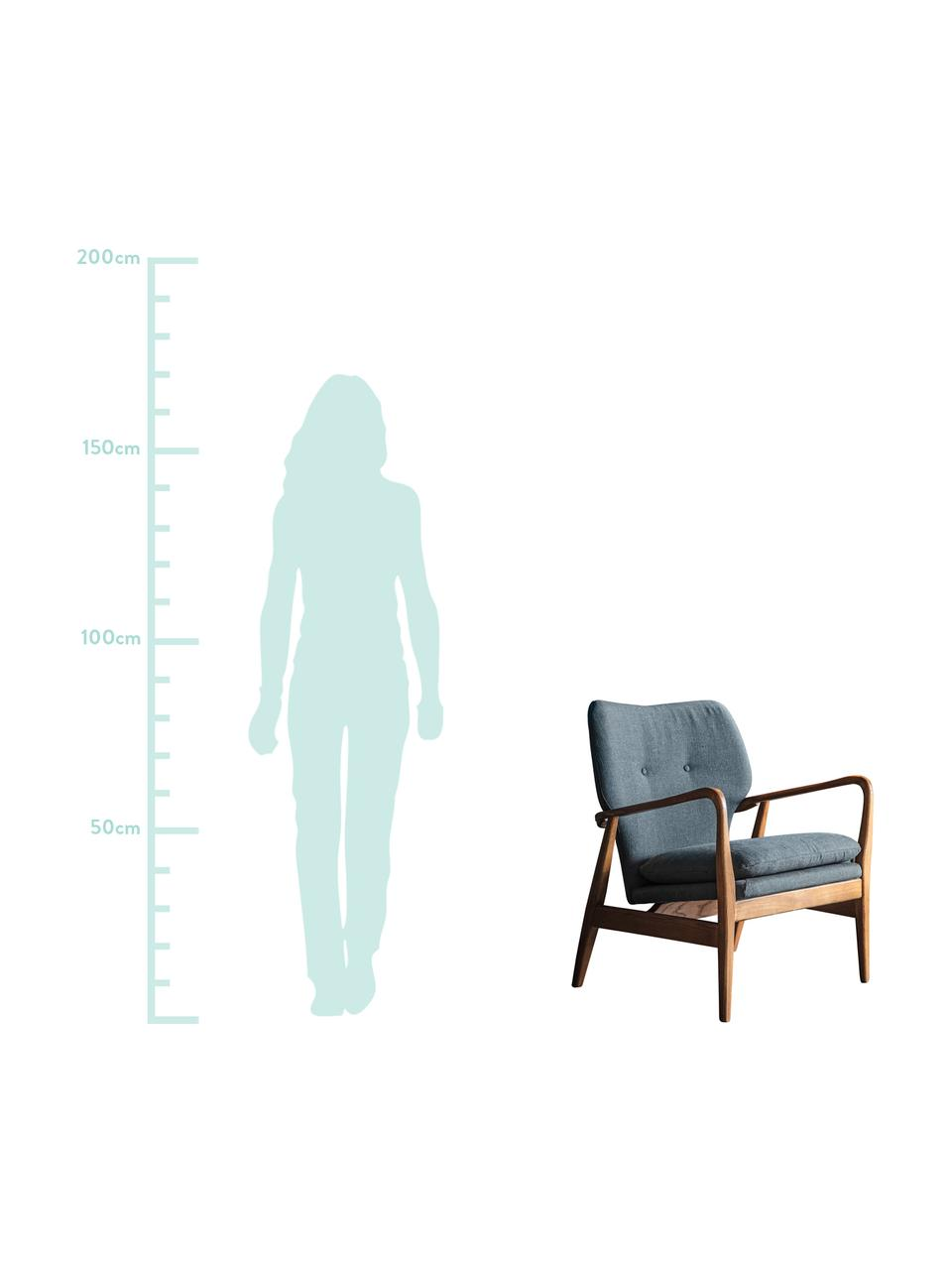 Loungefauteuil Jomlin van eikenhout, Bekleding: linnen, Frame: eikenhout, Donkergrijs, 70 x 60 cm