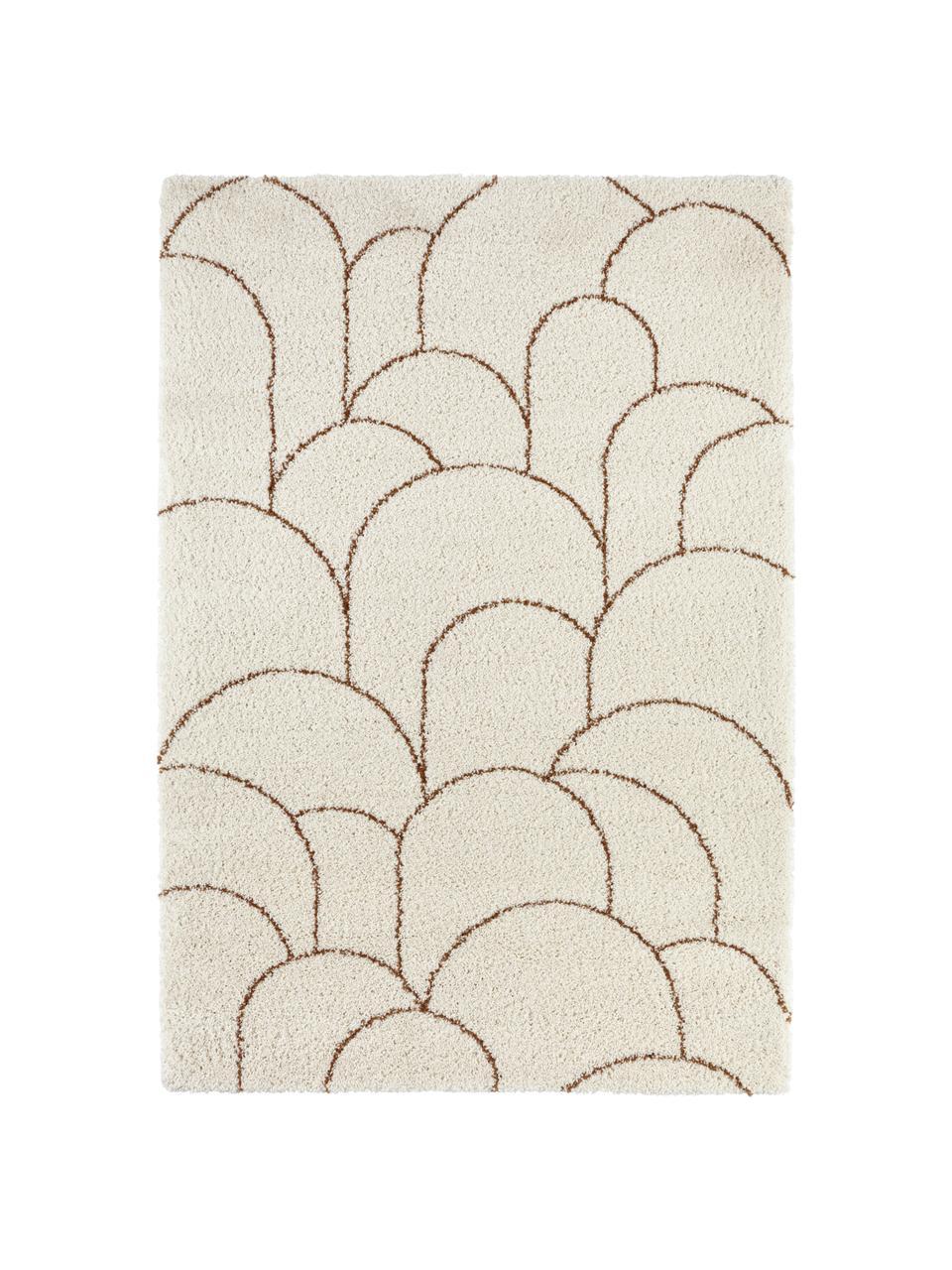 Tappeto a pelo lungo color crema/marrone con motivo grafico Desso, 100% polipropilene, Beige, marrone, Larg. 80 x Lung. 150 cm (taglia XS)