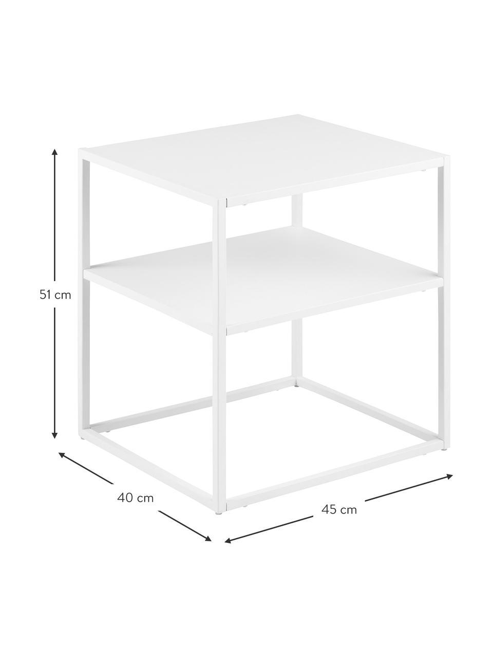 Tavolino in metallo bianco Neptun, Metallo verniciato a polvere, Bianco, Larg. 45 x Prof. 40 cm