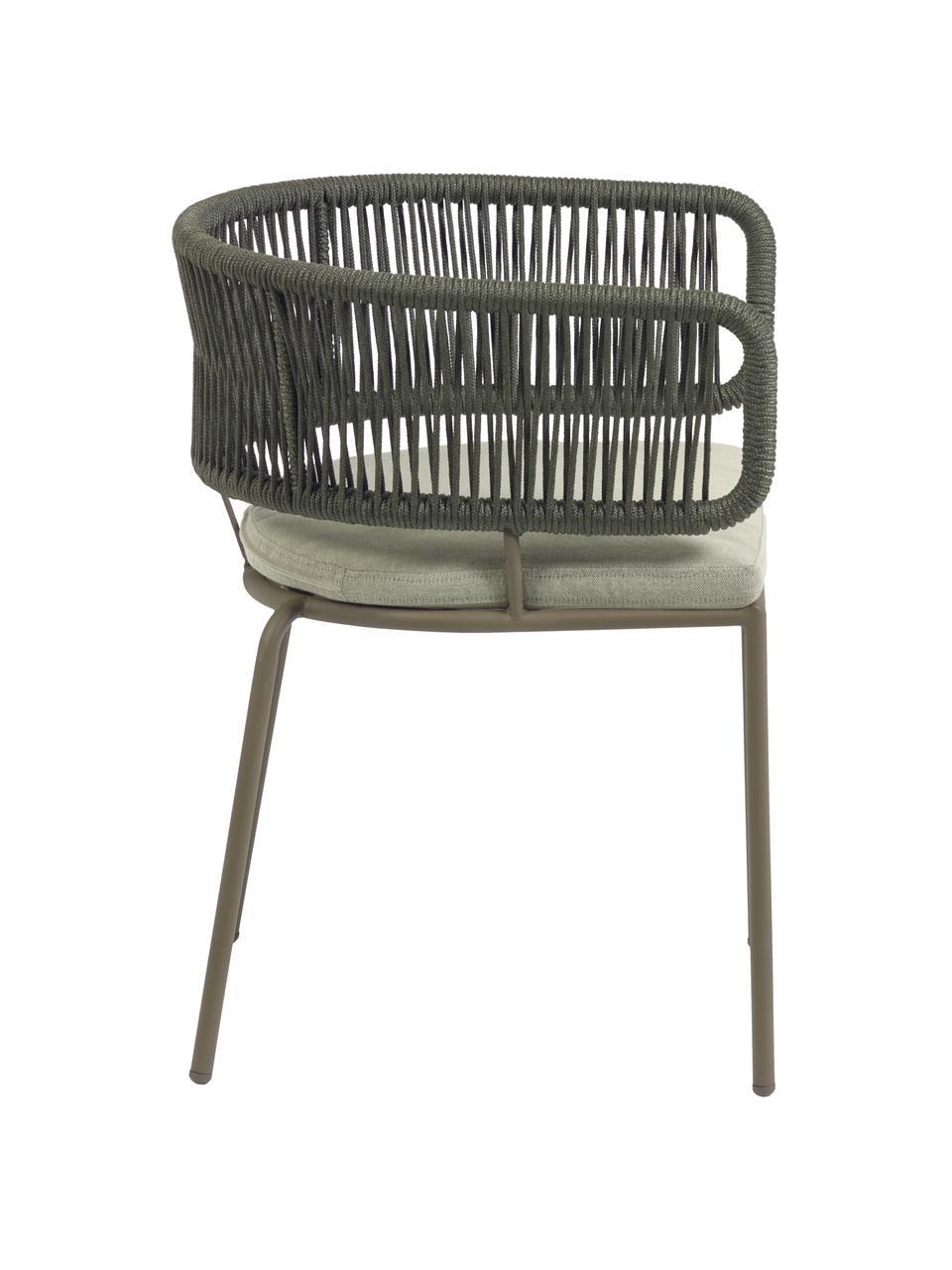 Krzesło ogrodowe Nadin, Stelaż: metal ocynkowany i lakier, Tapicerka: poliester, Zielony, S 58 x G 48 cm