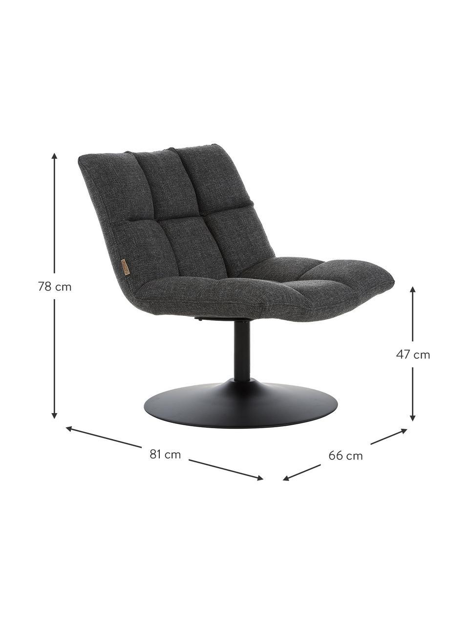 Fotel obrotowy Bar, Tapicerka: poliester Dzięki tkaninie, Korpus: drewno warstwowe, Ciemnyszary, S 66 x G 81 cm
