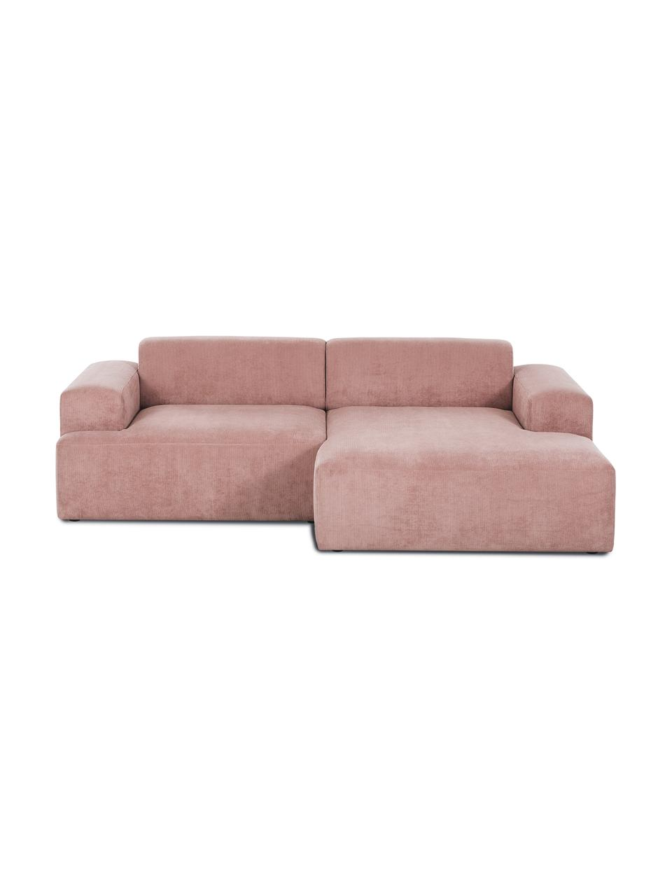 Sofa narożna ze sztruksu Melva (3-osobowa), Tapicerka: sztruks (92% poliester, 8, Nogi: drewno sosnowe Nogi znajd, Sztruks blady różowy, S 240 x G 144 cm