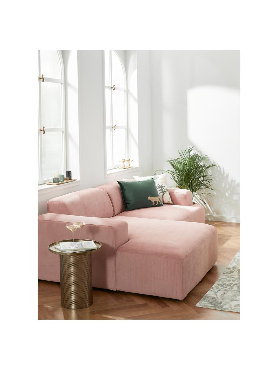 Corduroyhoekbank Melva (3-zits) in roze, Bekleding: Koord (92% polyester, 8% , Frame: massief grenenhout, spaan, Poten: grenenhout De poten bevin, Roze, B 240 x D 144 cm