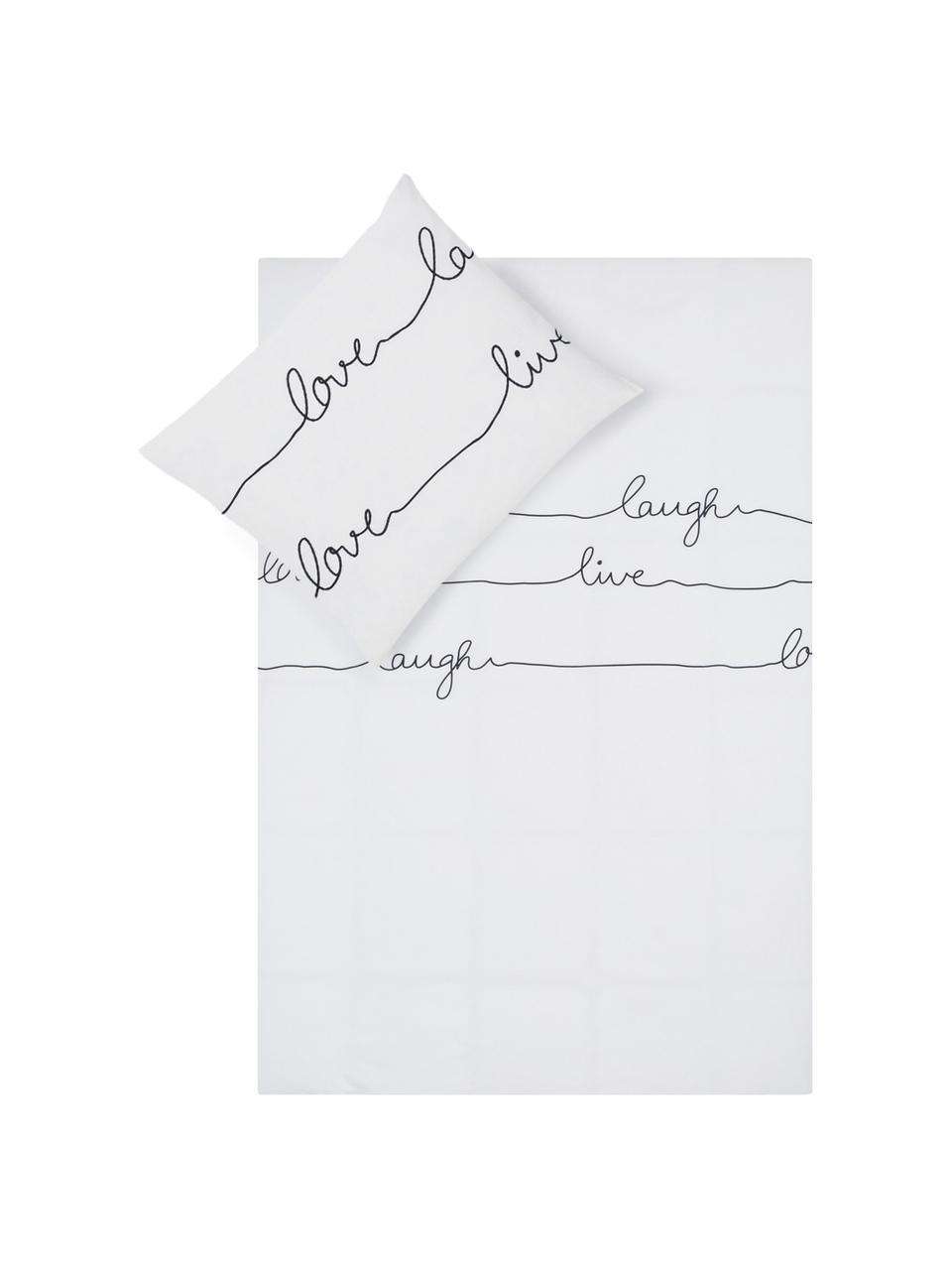 Dubbelzijdig dekbedovertrek Live, Katoen, Bovenzijde: wit, zwart. Onderzijde: wit, 140 x 200 cm + 2 kussen 60 x 70 cm
