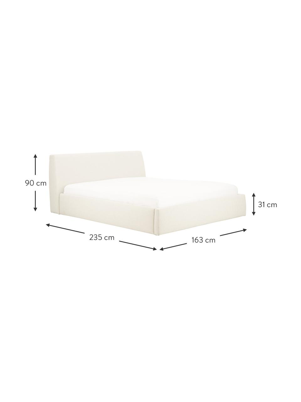 Łóżko tapicerowane z miejscem do przechowywania Cloud, Korpus: lite drewno sosnowe, mate, Tapicerka: tkanina o drobnej struktu, Beżowy, S 180 x D 200 cm