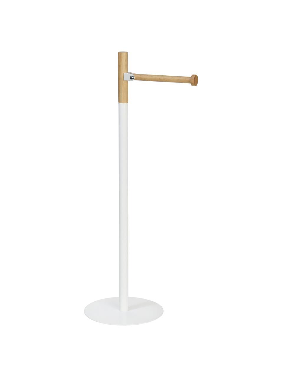 Toilettenpapierhalter Balham, Metall, Gummibaumholz, lackiert, Weiß, Gummibaumholz, Ø 17 x H 55 cm