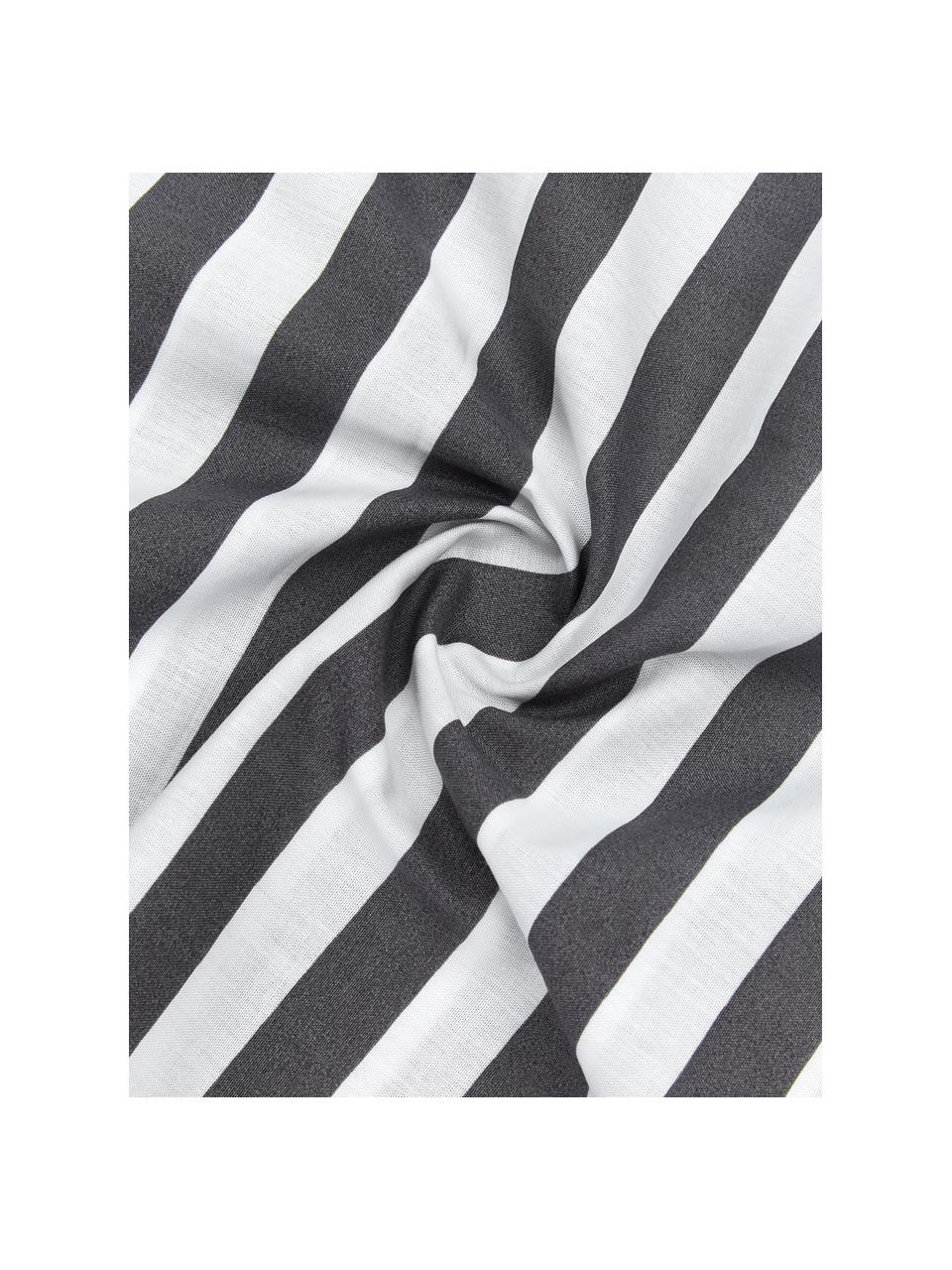 Gestreifte Baumwollperkal-Bettwäsche Yuliya in Dunkelgrau/Weiß, Webart: Perkal Fadendichte 180 TC, Dunkelgrau, Weiß, 240 x 220 cm + 2 Kissen 80 x 80 cm