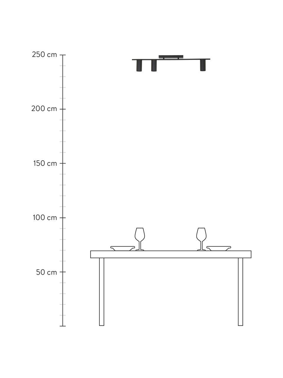 Grote plafondspot Cassandra, Baldakijn: gepoedercoat metaal, Mat zwart, 80 x 16 cm