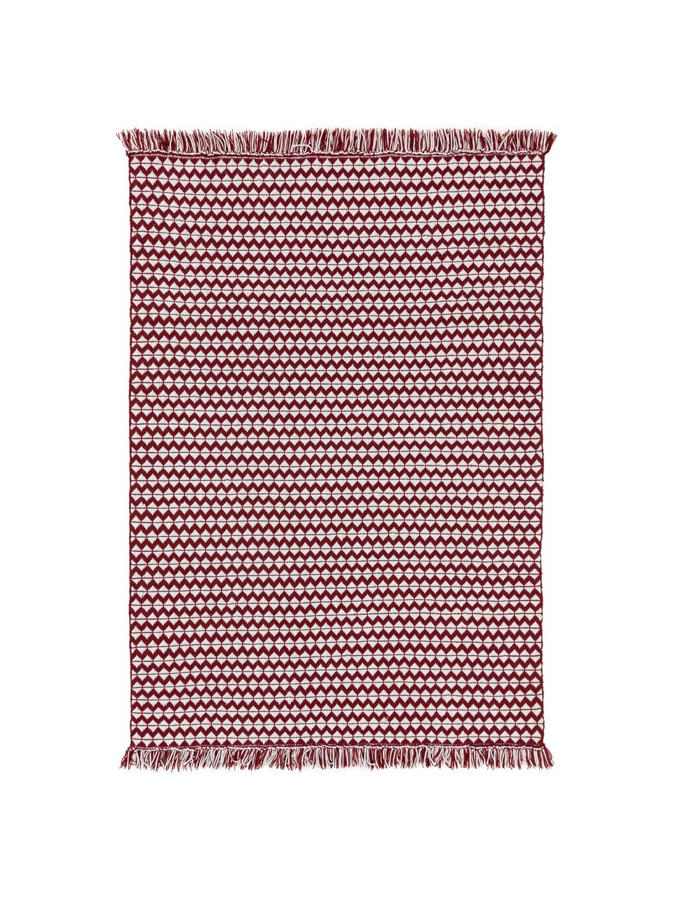 In- & Outdoor-Teppich Morty mit Ethnomuster und Fransen, 100% Polyester (recyceltes PET), Rot, gebrochenes Weiß, B 120 x L 170 cm (Größe S)