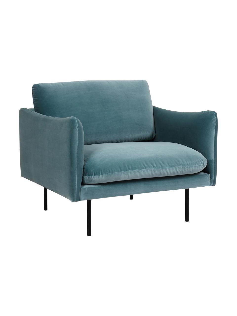 Fluwelen fauteuil Moby in turquoise met metalen poten, Bekleding: fluweel (hoogwaardig poly, Frame: massief grenenhout, Poten: gepoedercoat metaal, Fluweel turquoise, B 90 x D 90 cm