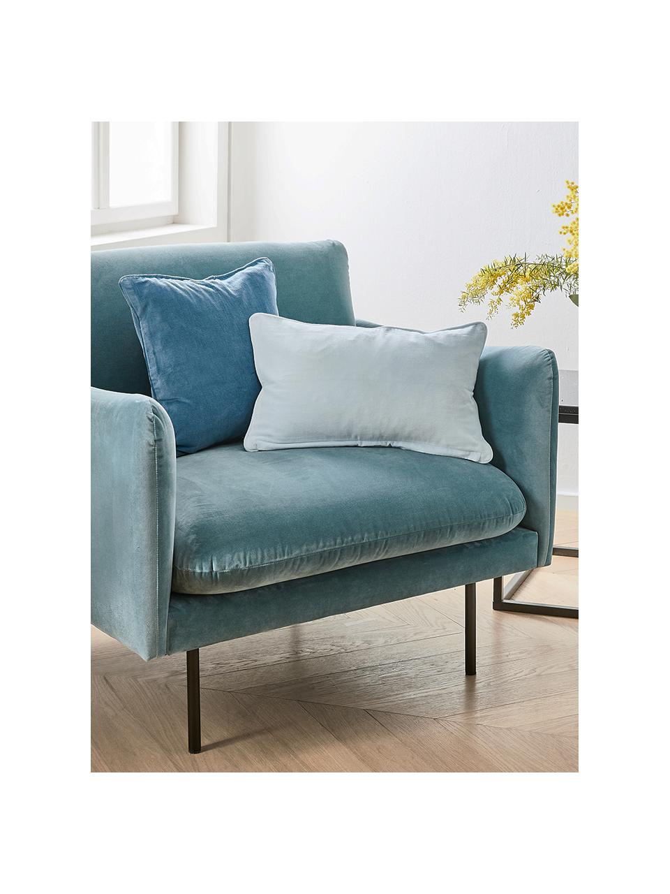 Fauteuil moderne velours turquoise Moby, Velours turquoise