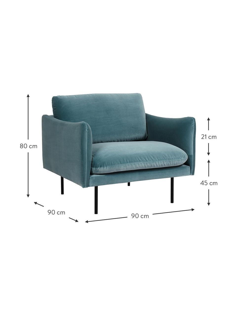 Fotel z aksamitu z metalowymi nogami Moby, Tapicerka: aksamit (wysokiej jakości, Stelaż: lite drewno sosnowe, Nogi: metal malowany proszkowo, Aksamitny turkusowy, S 90 x G 90 cm