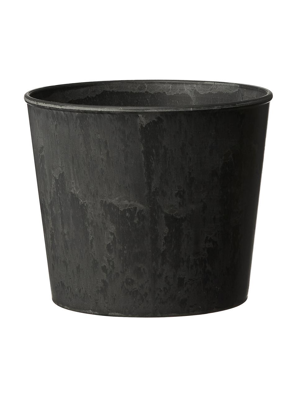 Komplet małych osłonek na doniczkę Yrsa, 3 elem., Tworzywo sztuczne, Czarny, Komplet z różnymi rozmiarami