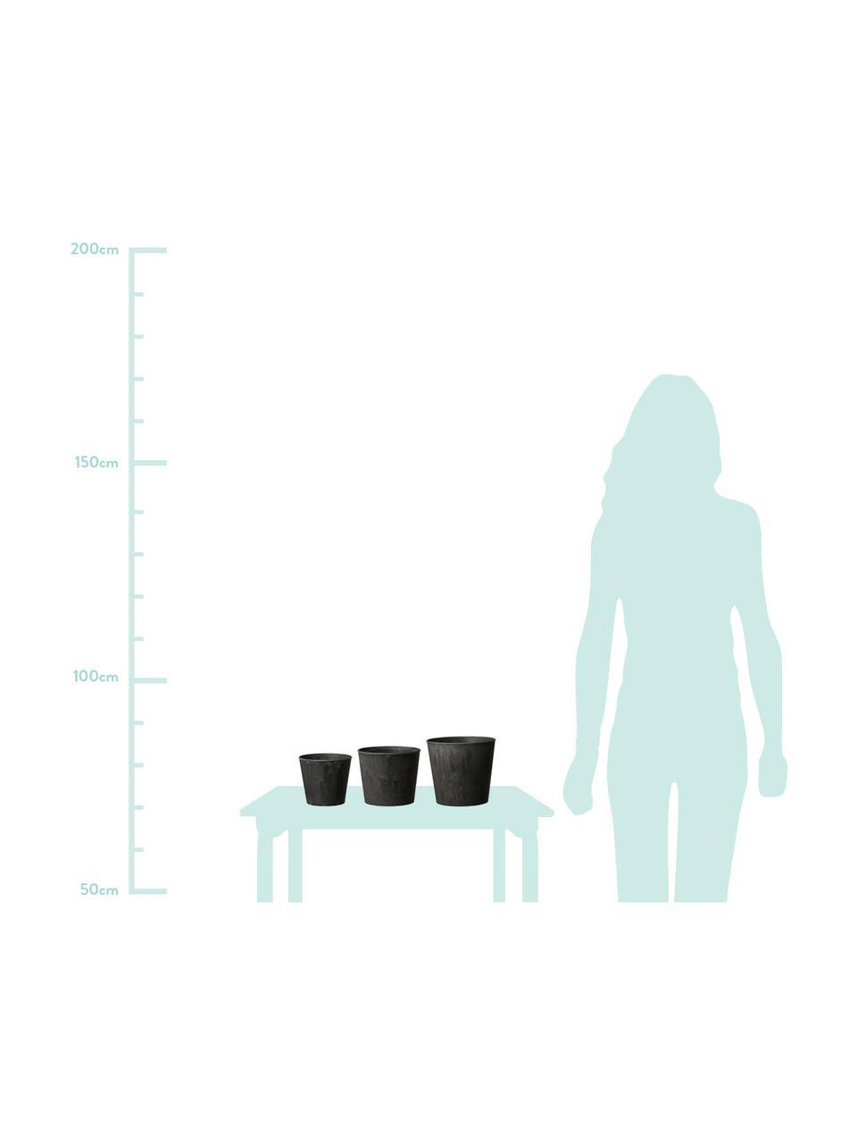 Kleines Pflanztopf-Set Yrsa, 3-tlg., Kunststoff, Schwarz, Set mit verschiedenen Größen