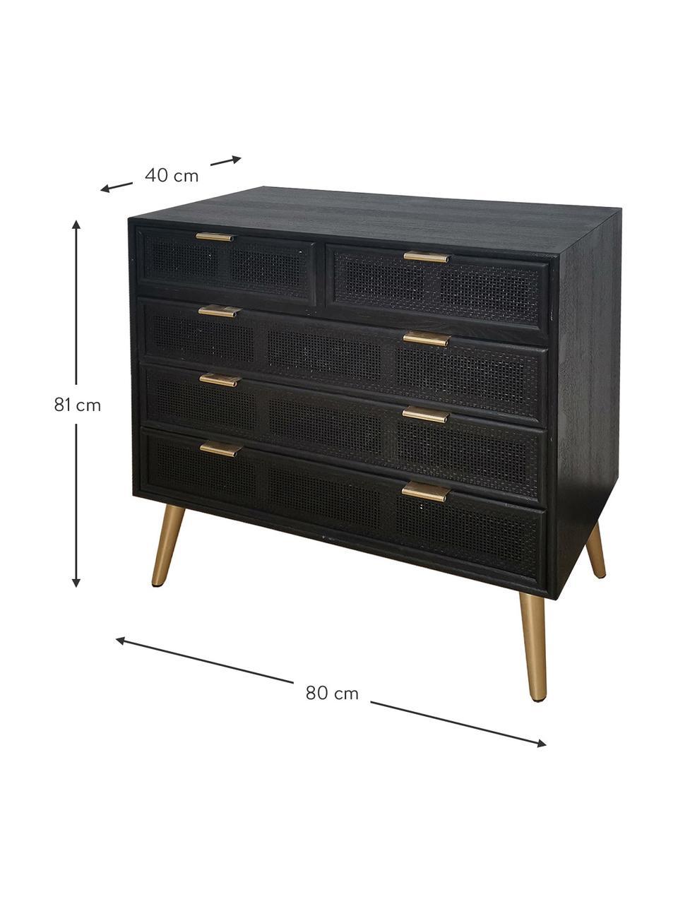 Ladekast Cayetana van hout, Frame: gelakt MDF, Poten: bamboehout, gelakt, Handvatten: gelakt metaal, Zwart, 80 x 81 cm