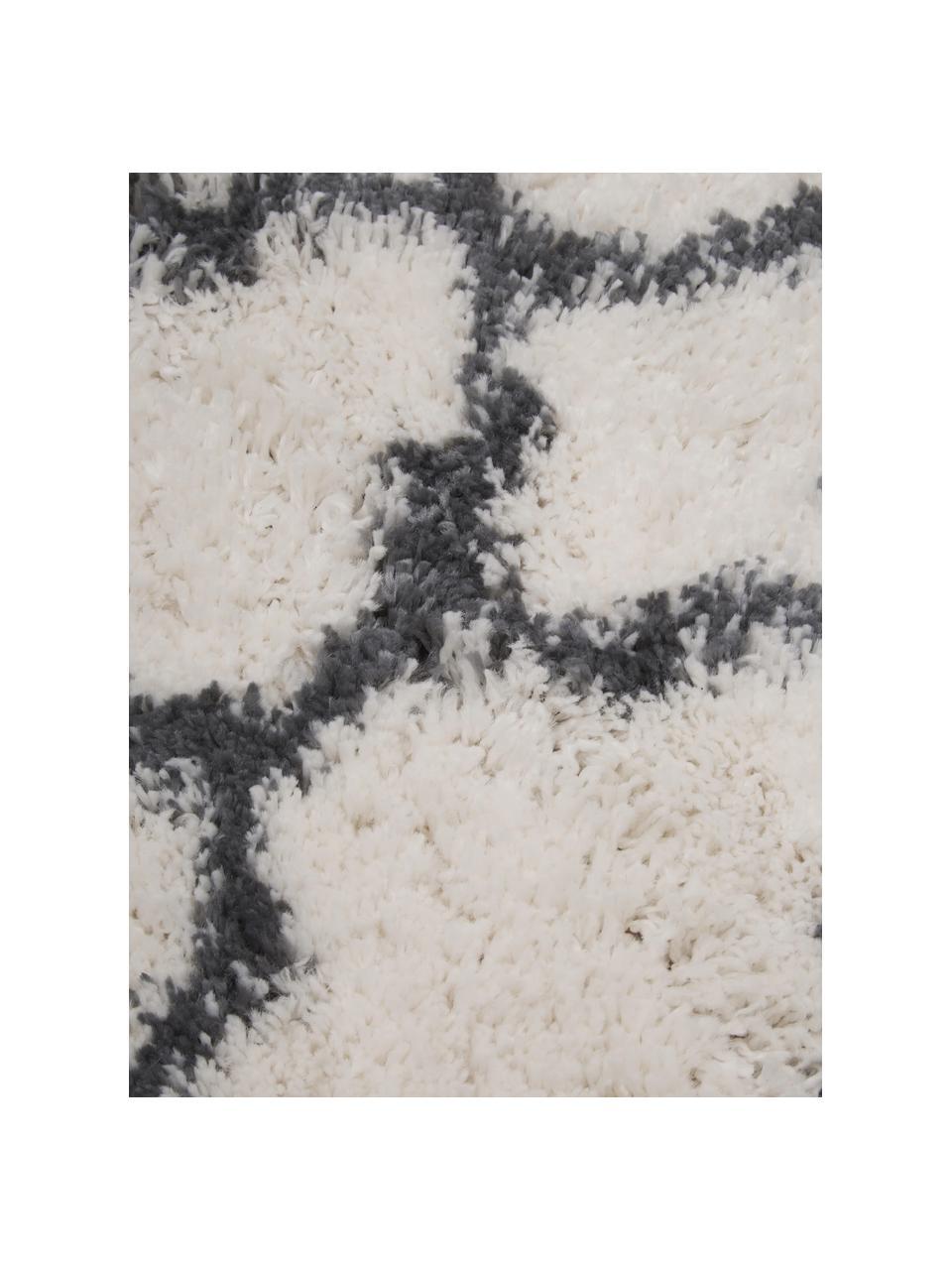 Hoogpolig vloerkleed Mona in crèmewit/donkergrijs, Bovenzijde: 100% polypropyleen, Onderzijde: 78% jute, 14% katoen, 8% , Crèmewit, donkergrijs, B 200 x L 300 cm (maat L)