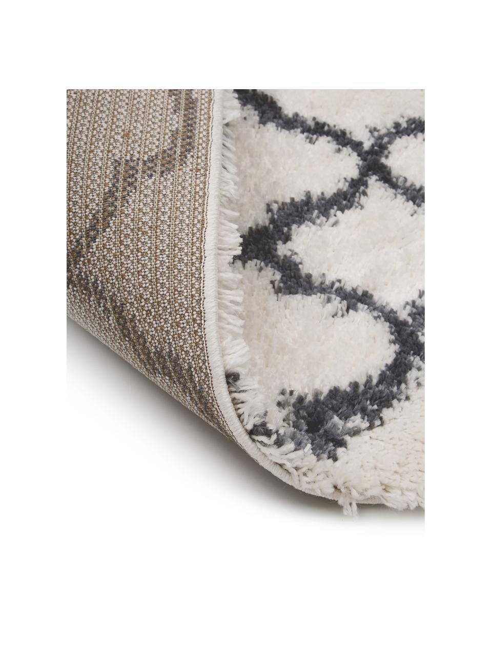 Hochflor-Teppich Mona in Cremeweiß/Dunkelgrau, Flor: 100% Polypropylen, Cremeweiß, Dunkelgrau, B 300 x L 400 cm (Größe XL)