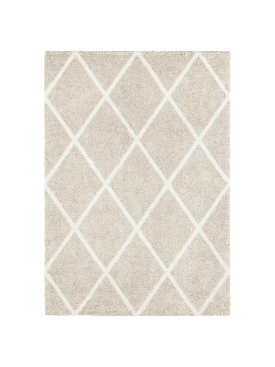 Tappeto con motivo a rombi Lunel, Retro: juta, Beige, color crema, Larg. 200 x Lung. 290 cm (taglia L)