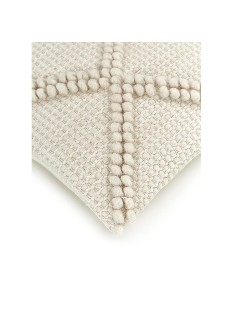 Federa arredo con ornamenti decorativi Janina, 100% cotone, Beige, Larg. 45 x Lung. 45 cm