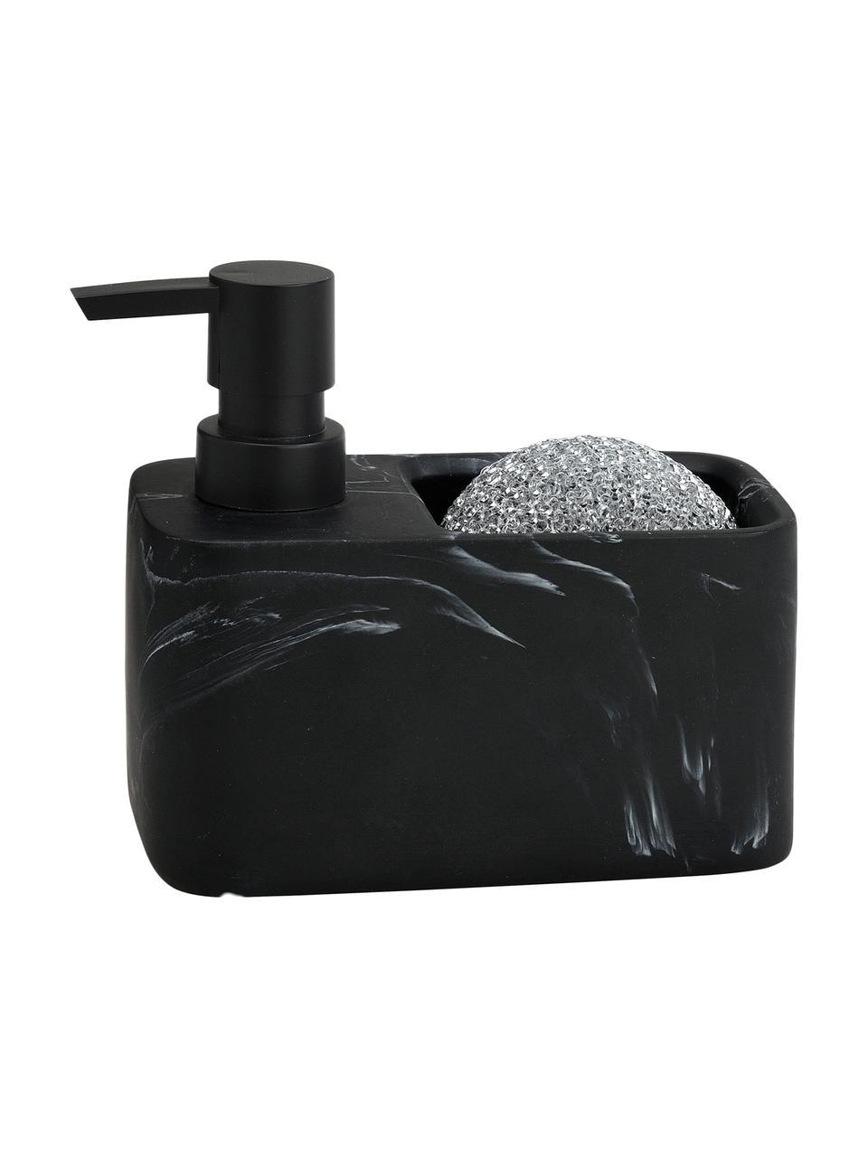Dozownik na płyn do naczyń z gąbką Galia, Czarny, marmurowy, odcienie srebrnego, S 15 x W 14 cm