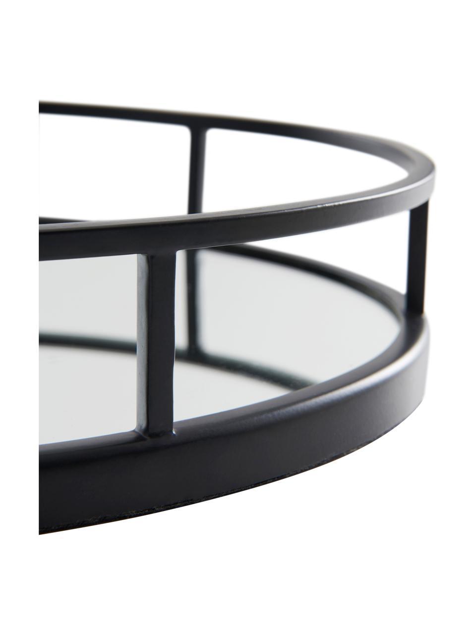 Ovales Deko-Tablett Jemma, Rahmen: Metall, beschichtet, Ablagefläche: Spiegelglas, Schwarz, 38 x 6 cm