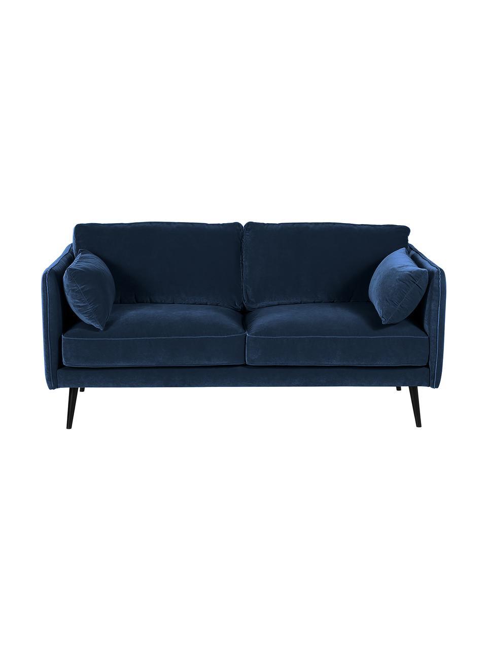 Fluwelen bank Paola (2-zits) in blauw met houten poten, Bekleding: fluweel (polyester), Frame: massief vurenhout, spaanp, Poten: gelakt vurenhout, Fluweel blauw, B 179 x D 95 cm
