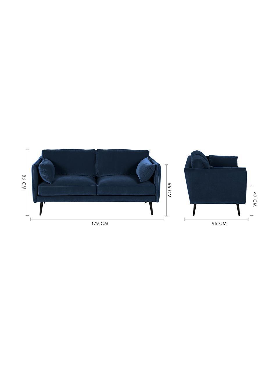 Sofa z aksamitu z drewnianymi nogami Paola (2-osobowa), Tapicerka: aksamit (poliester) 7000, Nogi: drewno świerkowe, lakiero, Aksamitny niebieski, S 179 x G 95 cm