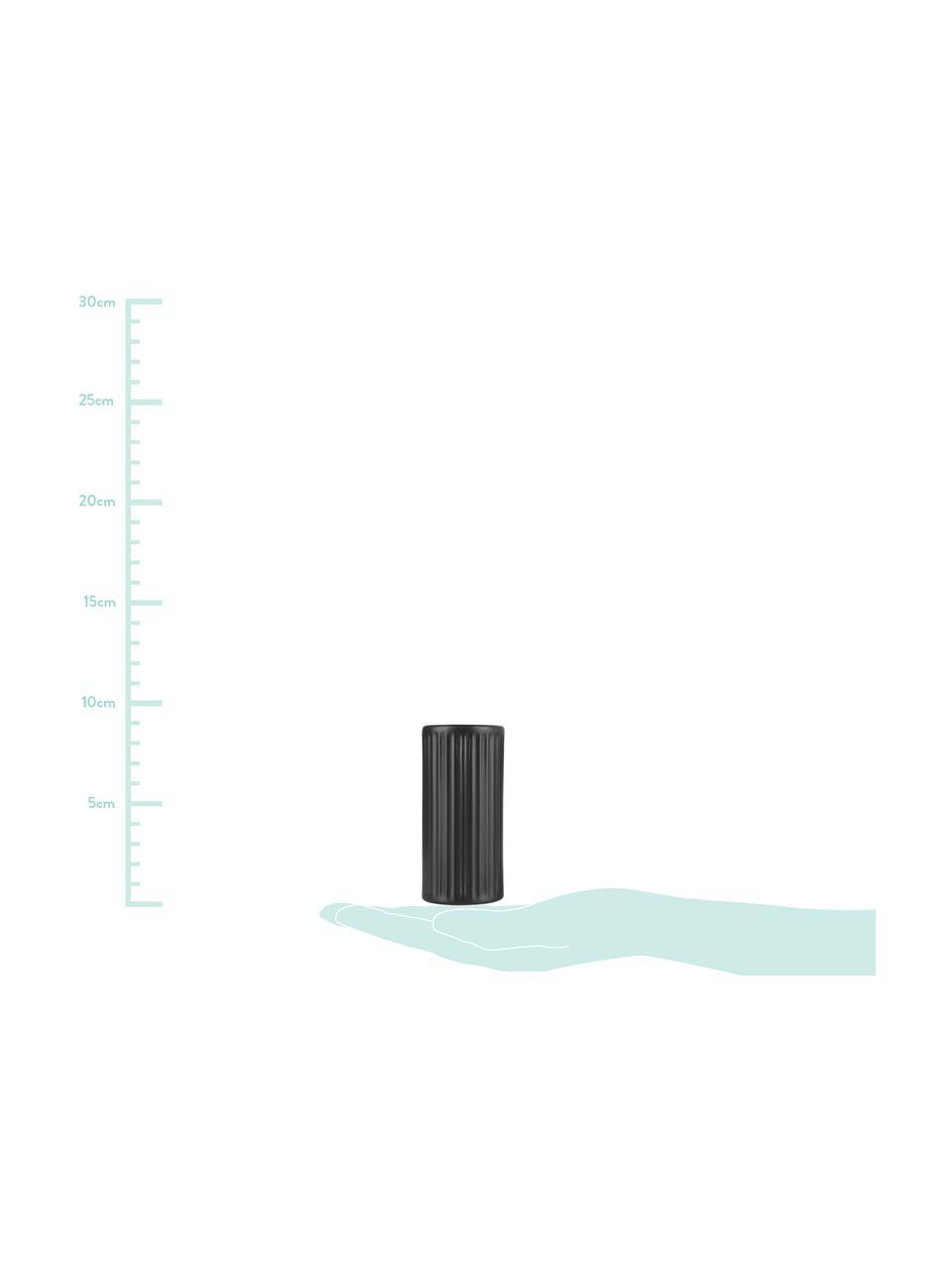 Schwarze Salz- und Pfefferstreuer Groove mit Rillenstruktur, 2er-Set, Steingut, Schwarz, Ø 4 x H 9 cm