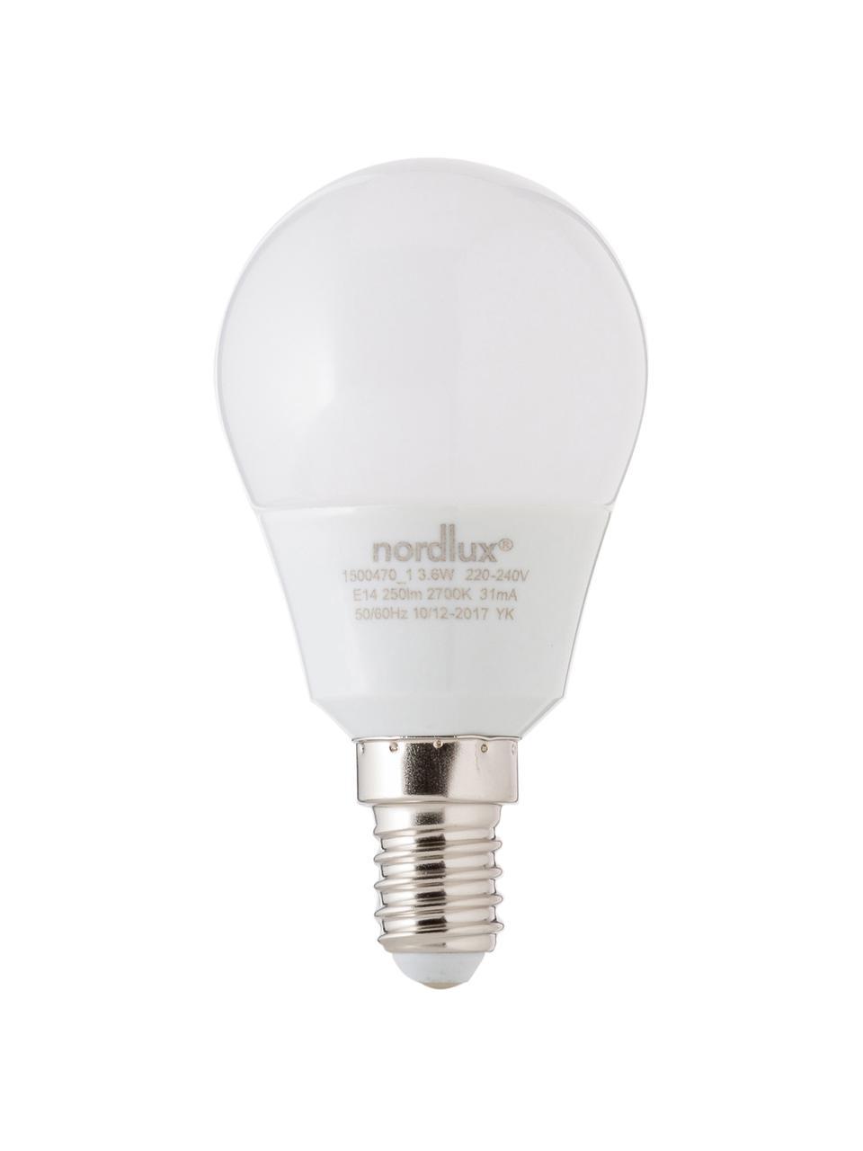 E14 Leuchtmittel, 4W, warmweiß, 1 Stück, Leuchtmittelschirm: Opalglas, Leuchtmittelfassung: Aluminium, Weiß, Ø 5 x H 9 cm