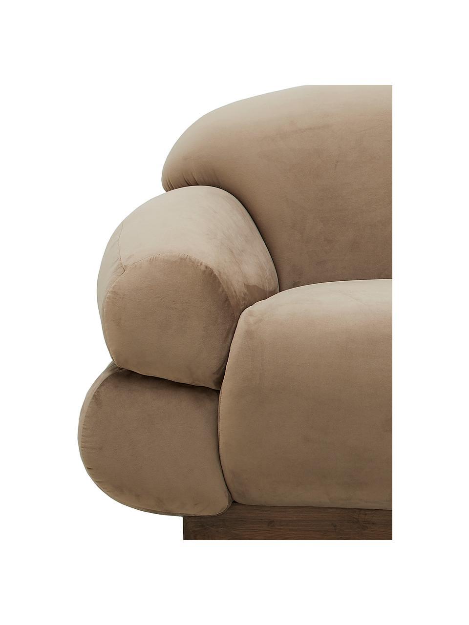 Samt-Sofa Sofie (3-Sitzer) in Braun, Bezug: Polyestersamt, Sockel: Eschenholz, Braun, B 214 x T 95 cm