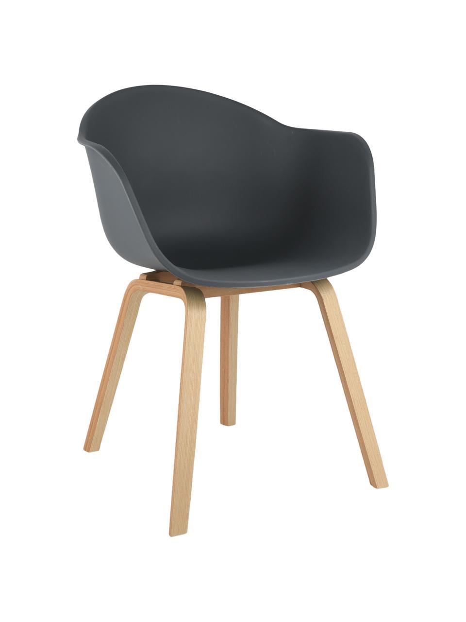 Kunststoff-Armlehnstuhl Claire mit Holzbeinen, Sitzschale: Kunststoff, Beine: Buchenholz, Grau, B 60 x T 54 cm
