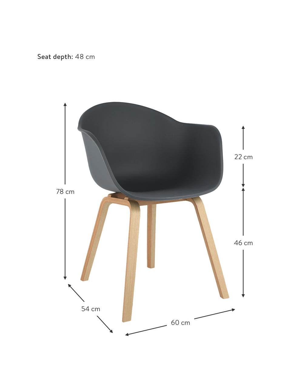 Krzesło z podłokietnikami z tworzywa sztucznego Claire, Nogi: drewno bukowe, Szary, S 60 x G 54 cm