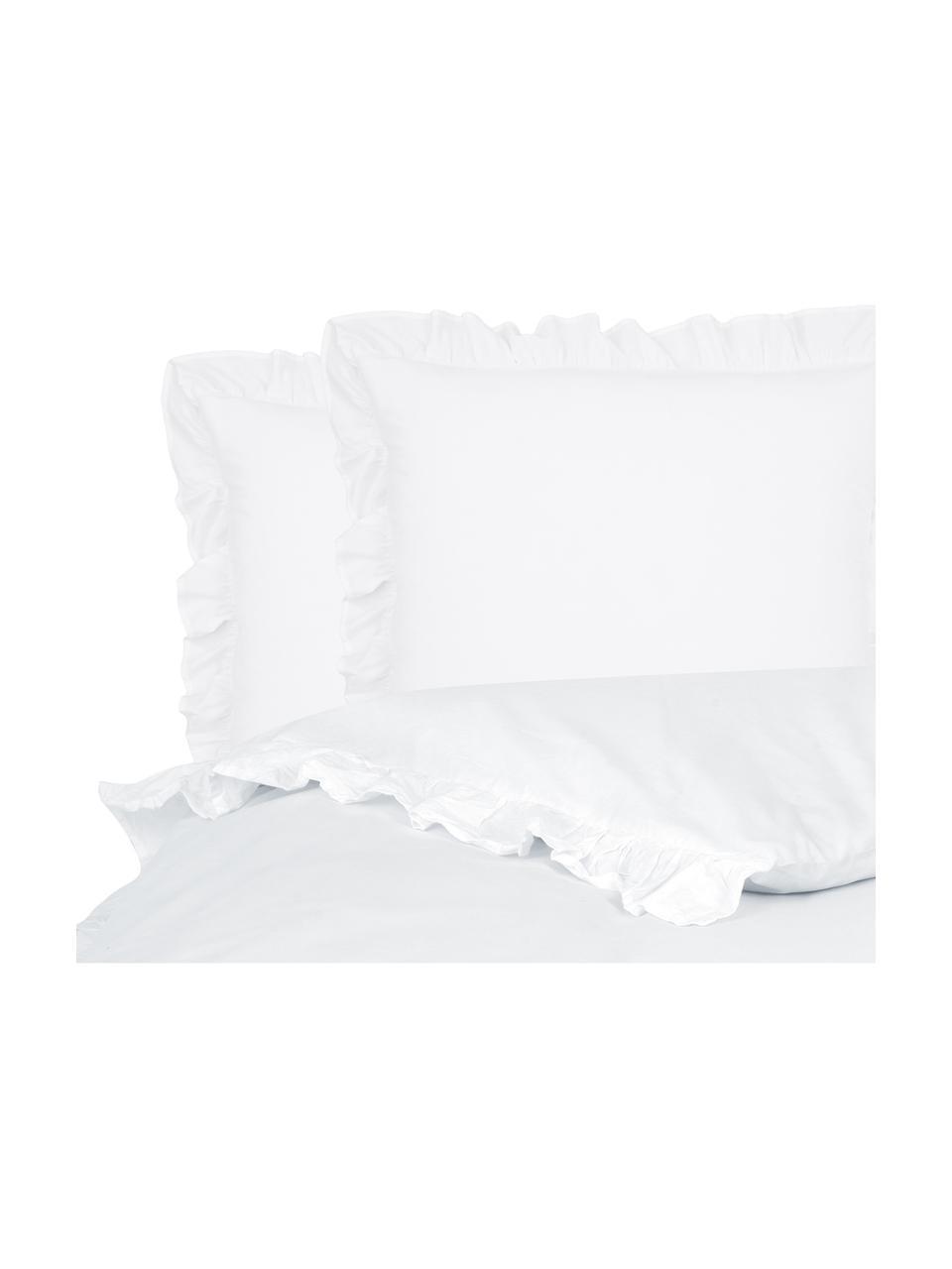 Parure copripiumino in cotone lavato Florence, Tessuto: percalle Densità del filo, Bianco, 255 x 200 cm