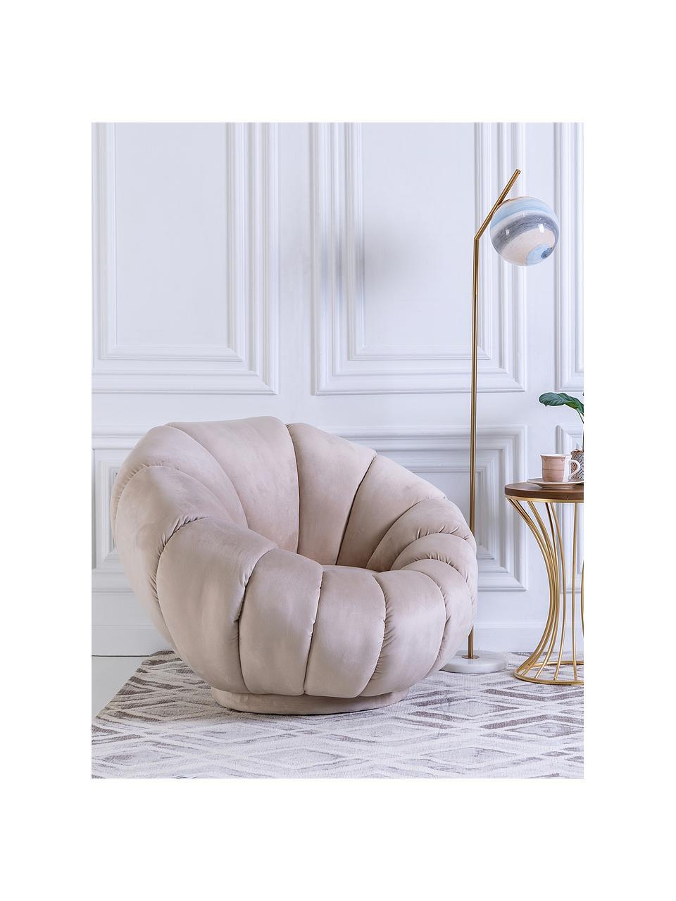 Fotel koktajlowy z aksamitu Coco, Tapicerka: aksamit (100% poliester), Stelaż: drewno naturalne, Noga: drewno naturalne, tapicer, Beżowy, S 98 x G 100 cm