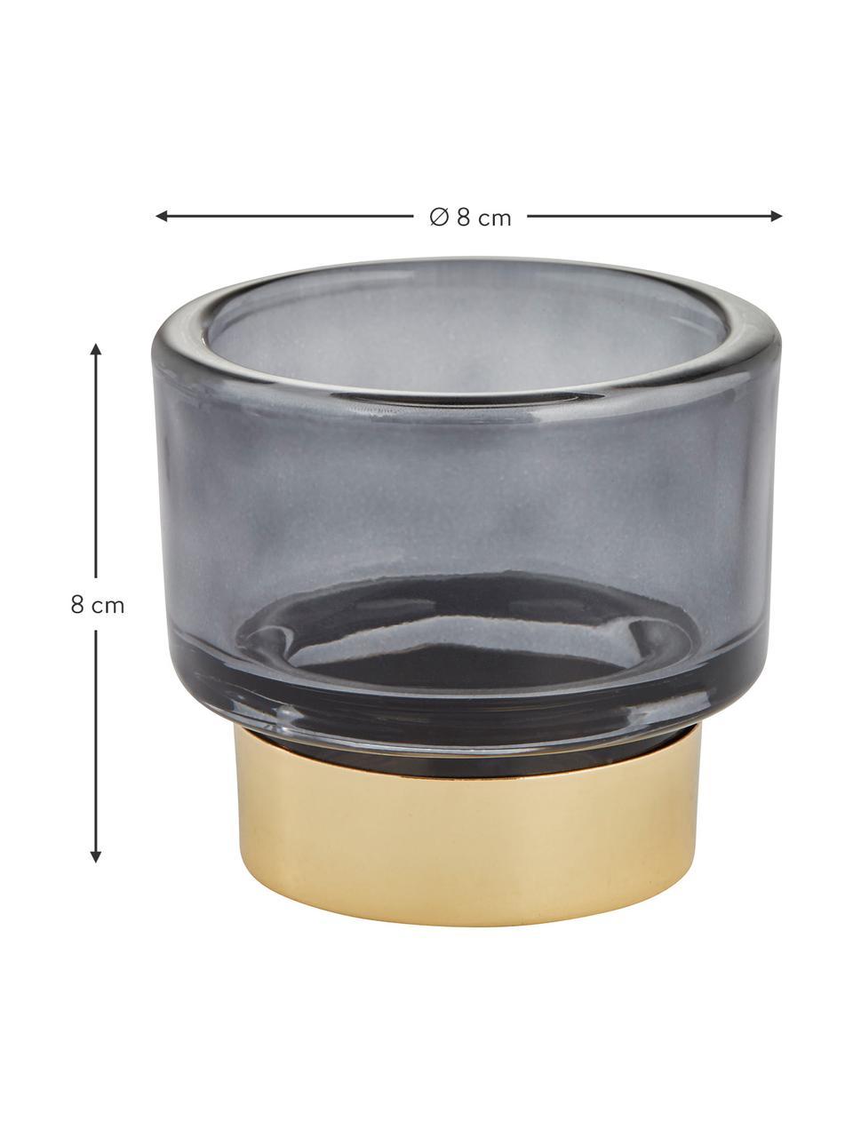 Bougeoir en verre fait main Miy, Gris foncé, transparent, couleur dorée