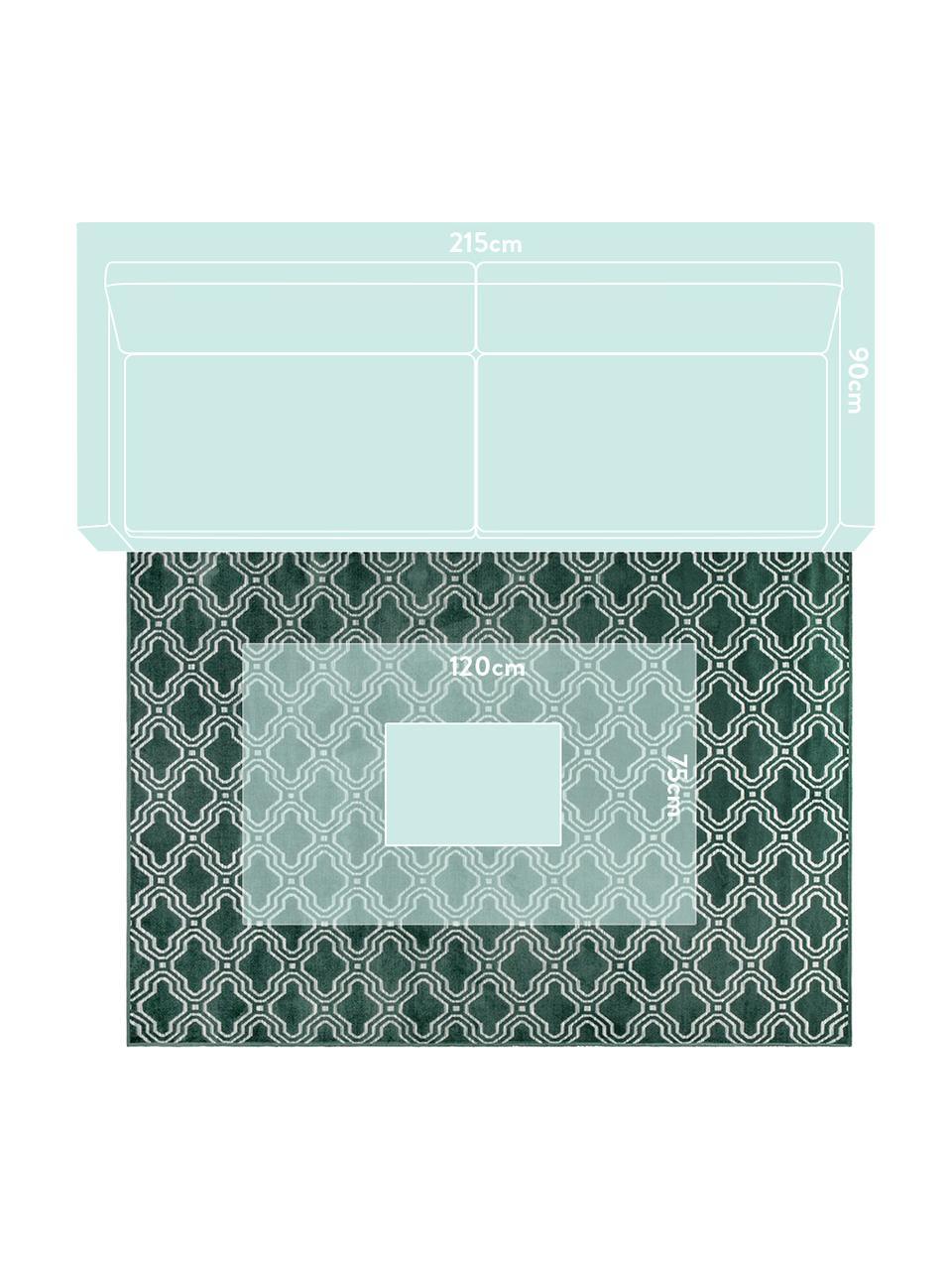 Tappeto con effetto a rilievo Feike, Retro: retro in gomma sintetica, Verde, Larg. 160 x Lung. 230 cm
