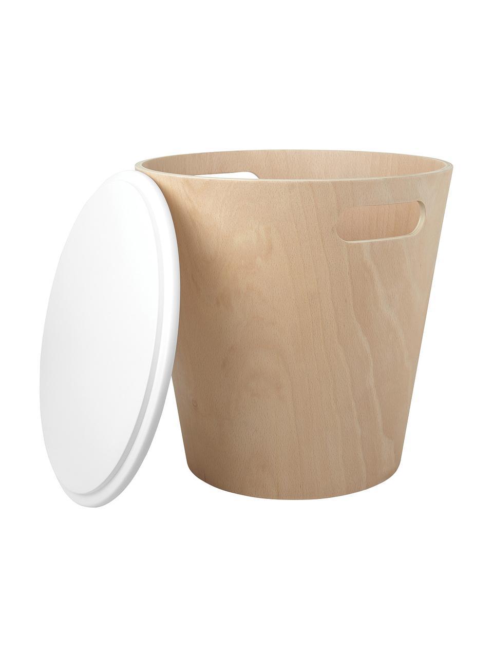 Sgabello / tavolino contenitore Woodrow, Legno verniciato, Legno, bianco, Ø 41 x Alt. 42 cm