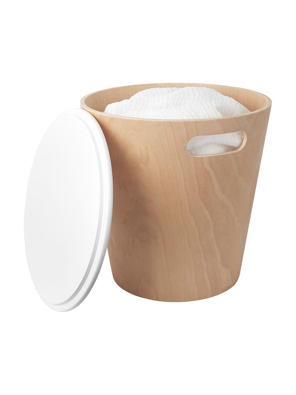 Hocker / Beistelltisch Woodrow mit Stauraum, Holz, lackiert, Braun, Weiß, Ø 41 x H 42 cm