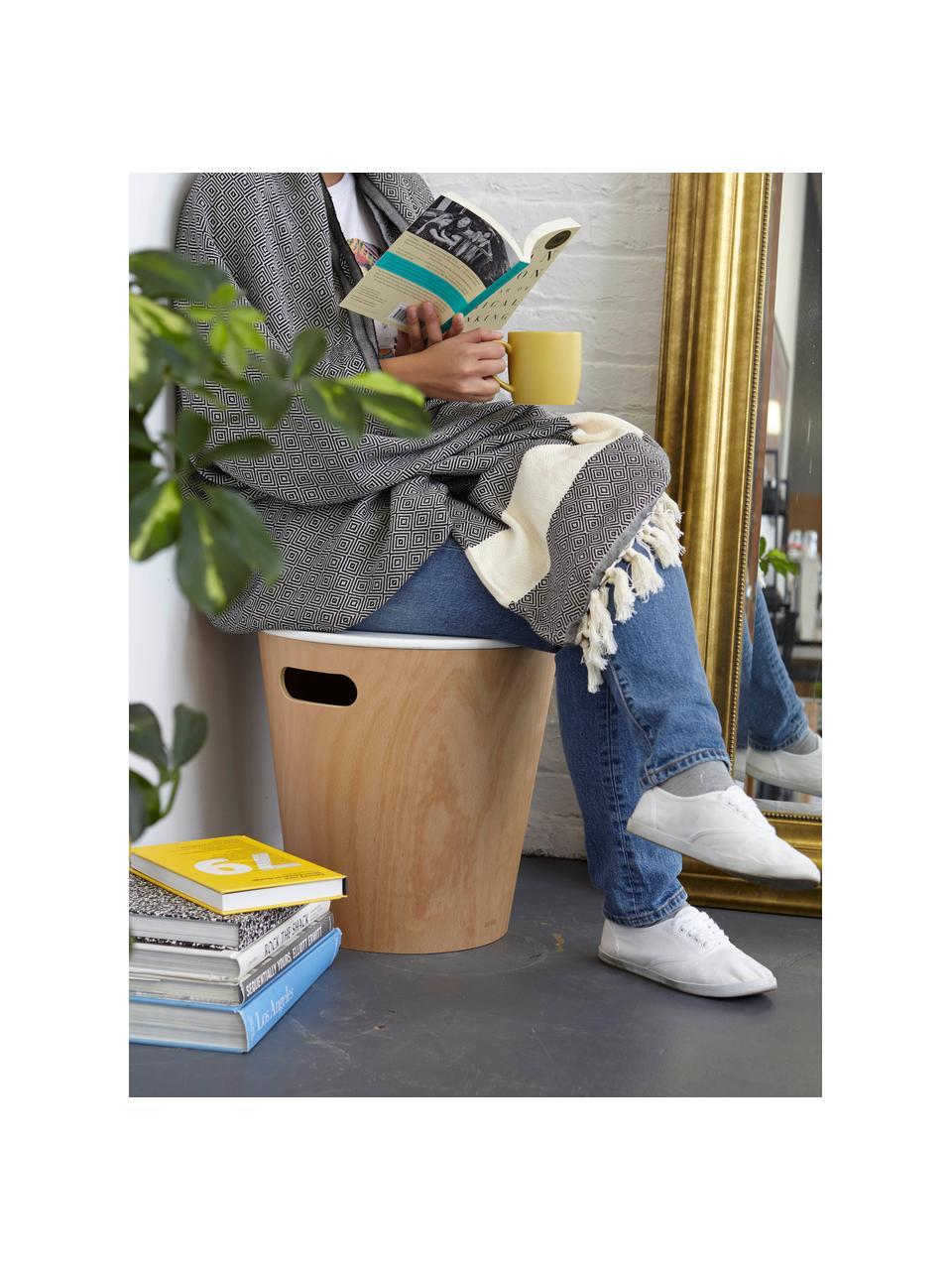 Kruk/bijzettafel Woodrow met opbergruimte, Gelakt hout, Houtkleurig, wit, Ø 41 x H 42 cm