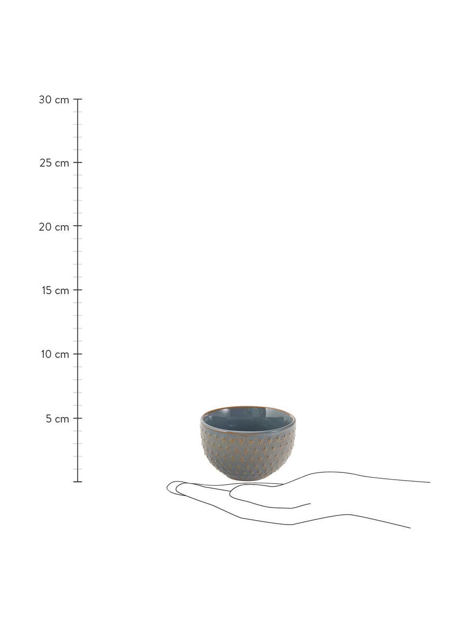 Gemusterte Snack-Schälchen Lara, 4er-Set, Steingut, Blaugrau, Braun, Ø 9 x H 6 cm