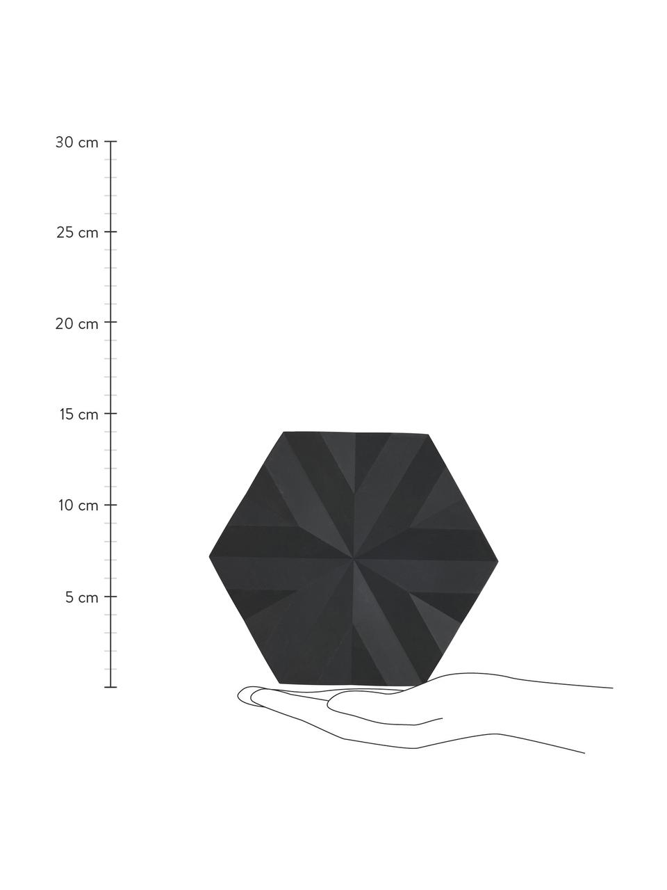 Topfuntersetzer Ori in Schwarz, 2 Stück, Silikon, Schwarz, 14 x 16 cm