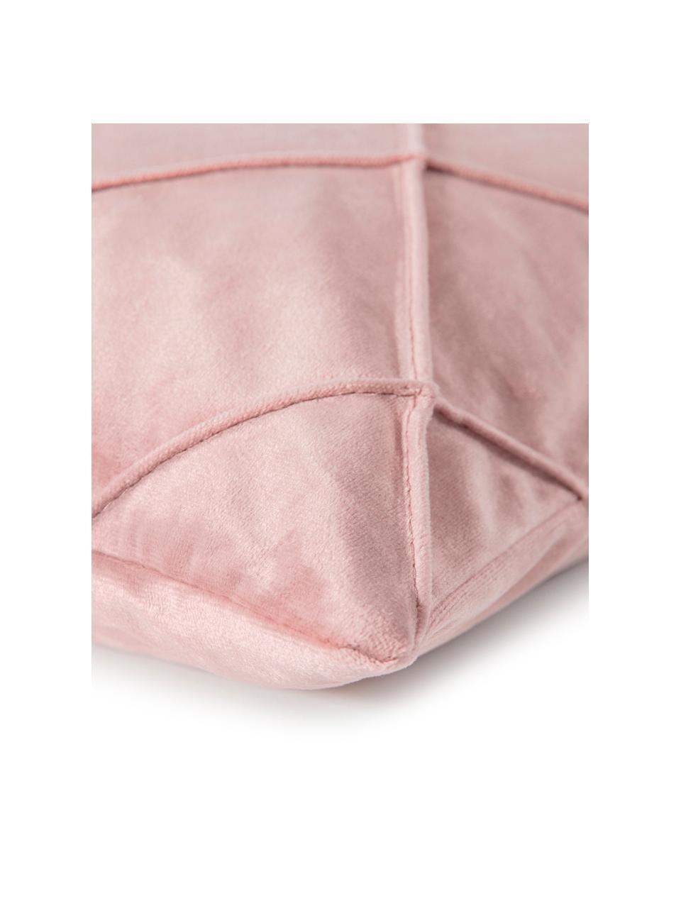 Federa arredo in velluto con motivo a rombi Nobless, 100% velluto di poliestere, Rosa cipria, Larg. 40 x Lung. 40 cm