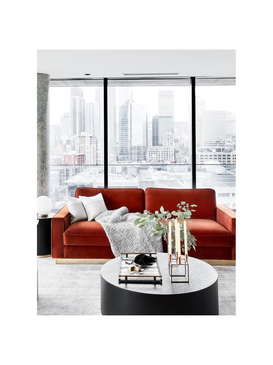Samt-Sofa Chelsea (3-Sitzer), Bezug: Samt (Hochwertiger Polyes, Gestell: Massives Fichtenholz, Rahmen: Metall, beschichtet, Samt Rostrot, B 228 x T 100 cm
