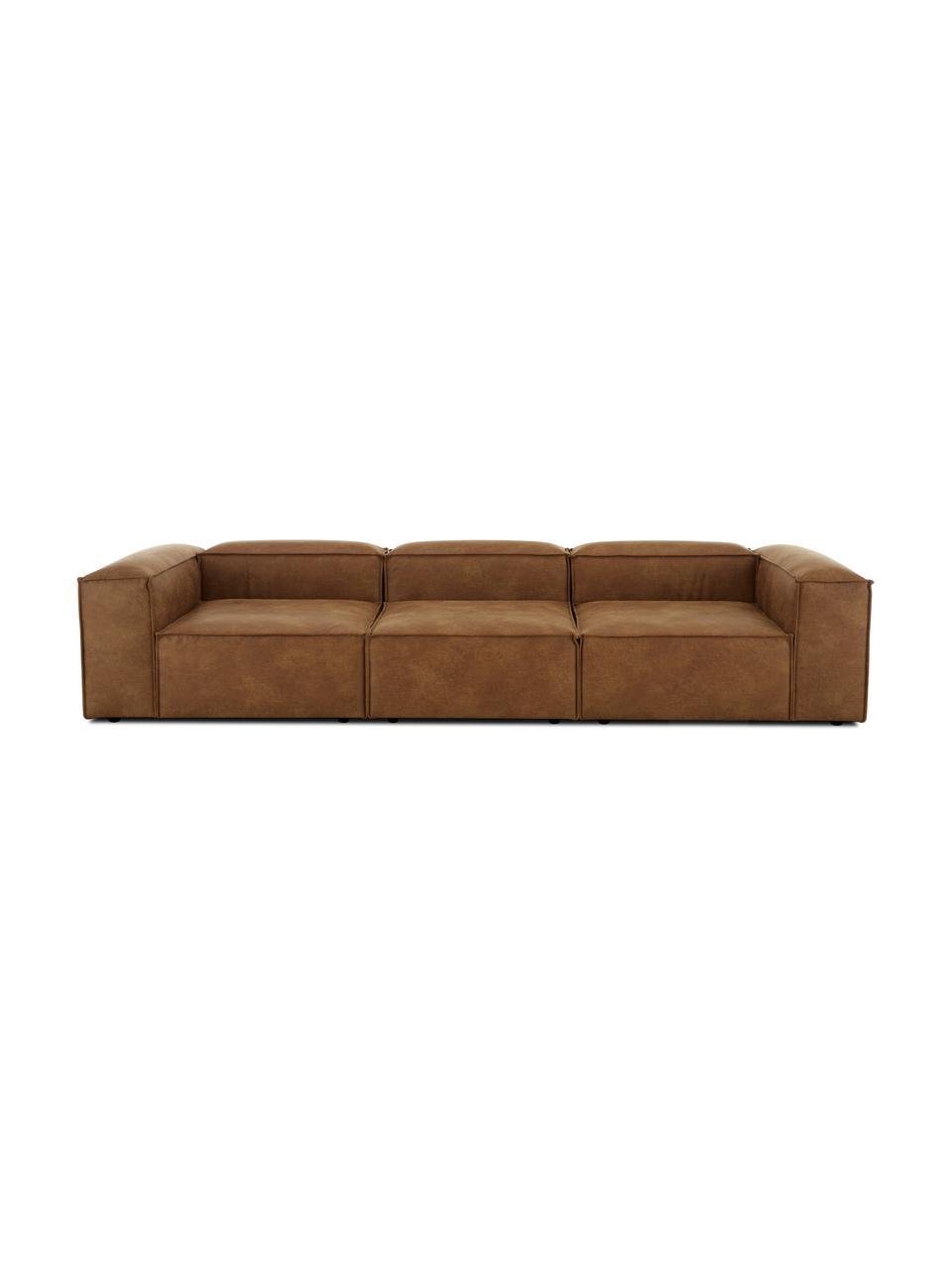Sofa modułowa ze skóry z recyklingu Lennon (4-osobowa), Tapicerka: skóra z recyklingu (70% s, Nogi: tworzywo sztuczne Nogi zn, Skórzany brązowy, S 327 x G 119 cm